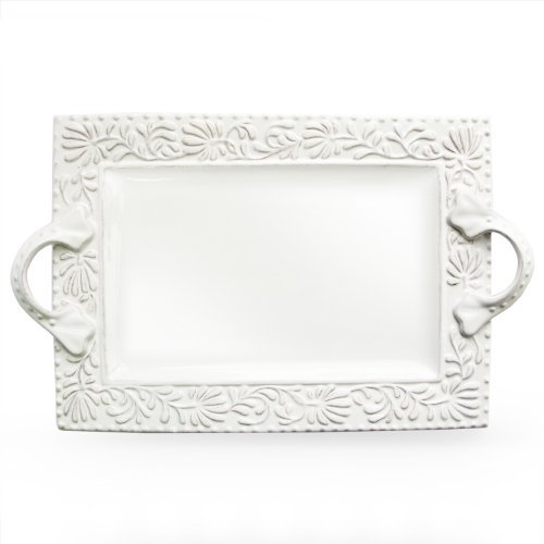 American Atelier Bianca Leaf Rectangle Platter by American A