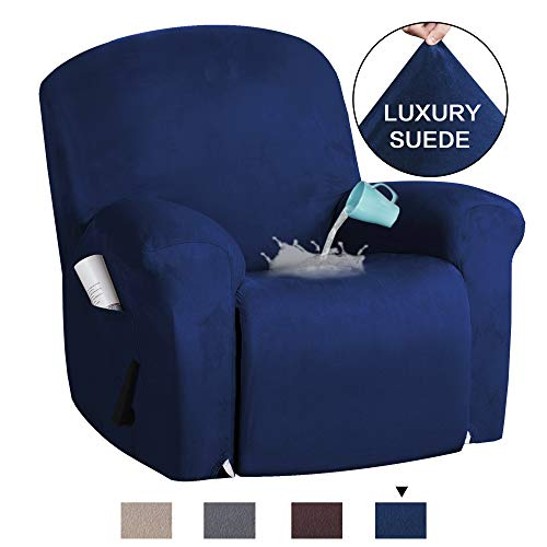 (H.VERSAILTEX 1-Piece Furniture Cover Ultra Stretch Suede Slipcovers Sofa Covers Furniture Protector with Elastic Bottom, Anti-Slip Foams Attached Couch Shield Recliner Sofa Cover (Recliner, Navy))