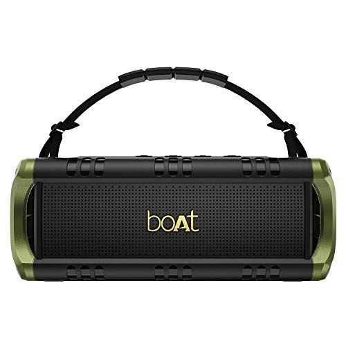 boAt Stone 1400 Mini Portable Wireless Speaker with 18W Sound, Twin EQ Modes, Up to 6H Playback, IPX5 Water & Splash Resistance, TWS Feature, Multiple Connectivity Modes and Carry Strap (Army Green)