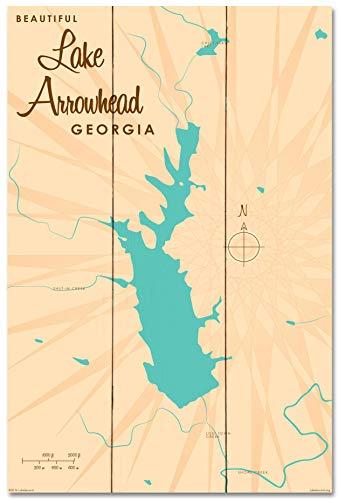 Lake Arrowhead Georgia Vintage-Style Map Wood Art Print by Lakebound (24