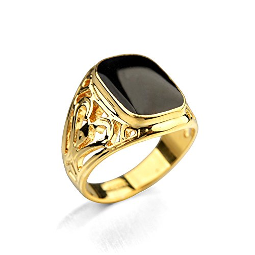 Star Jewelry Signet Pinky Ring With Black Square Enamel 18K Gold Plated For Men and Women Size (Gold Pinky Ring)