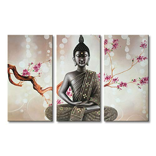 "Winpeak Pure Handmade Framed Canvas Art Buddha Oil Paintings on Canvas 3 paenl Wall Decor Picture Artwork Hanging for Living Room Stretched Ready to Hang (36"" W x 24"" H (12""x24"" x3pcs))"