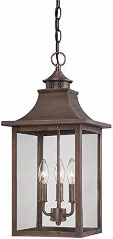 Acclaim 8316CP St. Charles Collection 3-Light Outdoor Light Fixture Hanging Lantern, Copper Patina