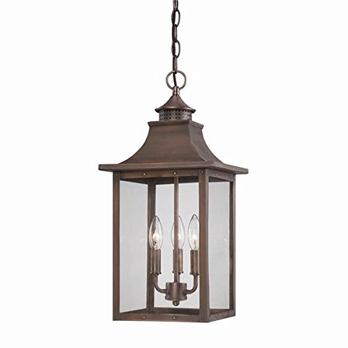- Acclaim 8316CP St. Charles Collection 3-Light Outdoor Light Fixture Hanging Lantern, Copper Patina
