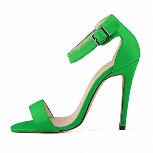 Cheville Peep Elegance Matte Boucle Sexy Vert Strap Toe Sandales Sandales Femmes HooH 0fqwCO1
