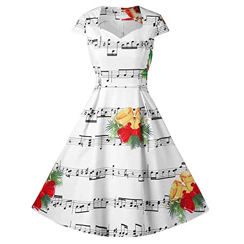 Women's Elegant Floral Patchwork Pockets Backless Casual Party Dress(White X-Large) -