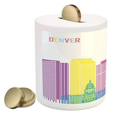 Ambesonne Denver Piggy Bank, Urban Buildings Apartments North American Skyline State Modern Town Cityscape, Printed Ceramic Coin Bank Money Box for Cash Saving, Multicolor (Bars Denver Patio)