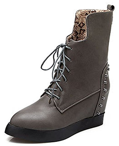 IDIFU Womens Casual Studded High Hidden Heels Wedge Platform Lace Up Ankle Boots Gray 5l41G