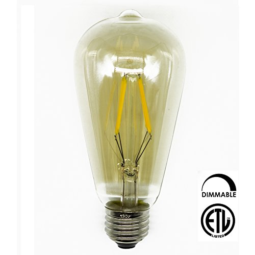 CLEARANCE 1 Pack Y-Nut LED Filament ST64 Bulb, 5W 2700K Warm White, Vintage Edison (Vintage Nut)