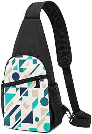 ボディ肩掛け 斜め掛け ブルートーン幾何学模様 ショルダーバッグ ワンショルダーバッグ メンズ 軽量 大容量 多機能レジャーバックパック