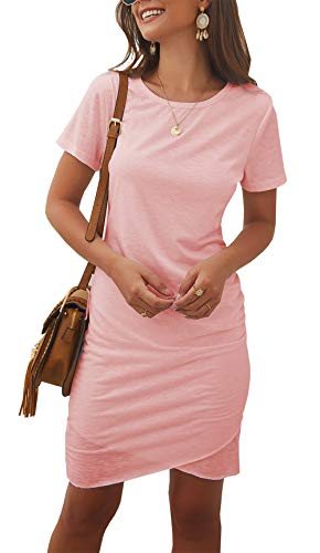 BTFBM Women's 2019 Casual Crew Neck Ruched Stretchy Bodycon T Shirt Short Mini Dress (104Pink, Large) ()
