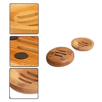 8.2x8.2x1.3CM ba/ño encimera bandejas de jab/ón ecol/ógicas Original bamb/ú Juego de jabonera de bamb/ú para Ducha TREESTAR 3.2 Pulgadas Viaje Cocina Soporte de Esponja de jab/ón