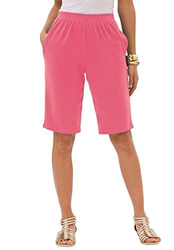 Roamans Women's Plus Size Soft Knit Bermuda Shorts Dark Blue,3X