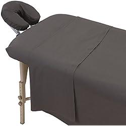 London Linens Polycotton Massage Sheet 3 Piece set (Grey)