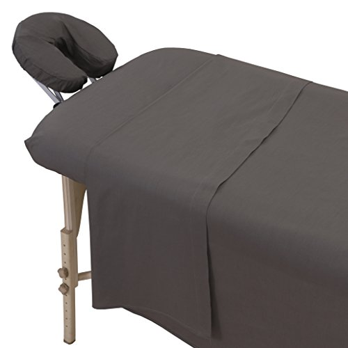 (London Linens Polycotton Massage Table Cover Sheets 3 Piece Set (Grey) )