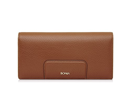 bonia-womans-brown-milled-flap-purse