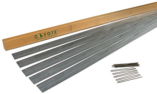 (Coyote Landscape Products 5 Piece Steel Home Kit Galvanized Edging with 15 Plated Edge Pins, 4