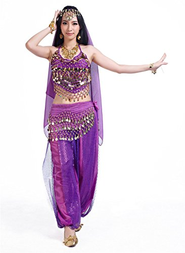 Seawhisper Genie Costume for Women Purple Adult Halloween (Halloween Belly Dancer Costumes)