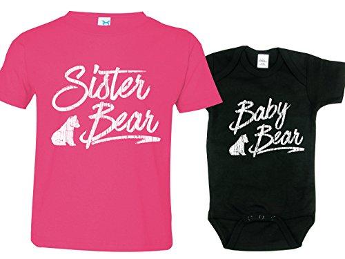 Sister Bear - Texas Tees Sister Brother Matching Sibling Shirts, Bear Onsie, Includes Small (6-8) & 0-3 m