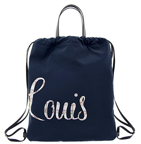 LOUIS QUATORZE Navy Nylon Drawstring Backpack Sack Bag with LOUIS Monogram HM1EV73NA One Size Navy by LQ LOUIS QUATORZE