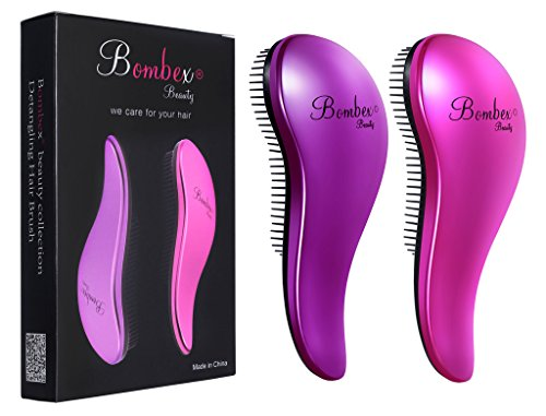 BOMBEX Hair Detangler Brush Set – No Tangles & Knots,Best Detangling Hair Brush for Tangled Hair,2 Piece
