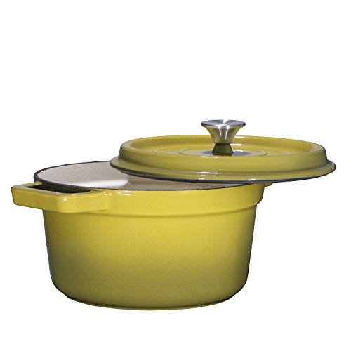 Bruntmor, Enameled Cast Iron Dutch Oven Casserole Dish 6.5 quart Large Loop Handles & Self-Basting Condensation Ridges On Lid (Olive Green) ()