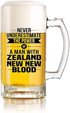 Jarra de cerveza de vidrio para restaurante, jarra de cerveza para juegos de pelota, buenos regalos para el hombre de Nueva Zelanda, único - Recuerdos Memorabilia