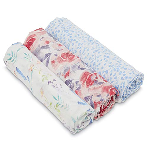 aden + anais Silky Soft Swaddle Baby Blanket, White Label 3-Pack Watercolor Garden