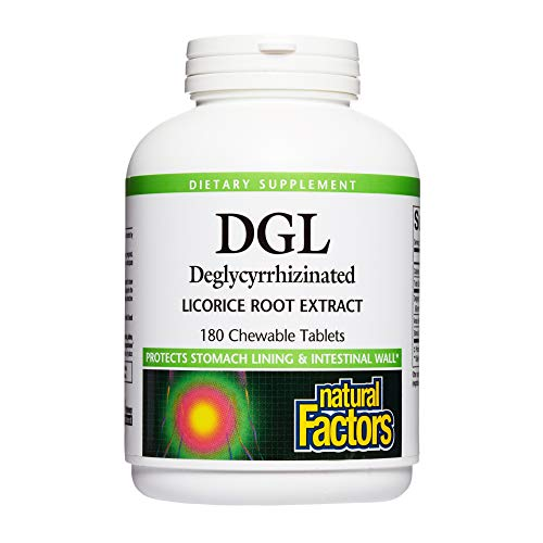 Natural Factors, DGL Licorice Root Chewable, Promotes a Healthy Stomach Lining and Intestinal Wall, 180 tablets (180 servings)