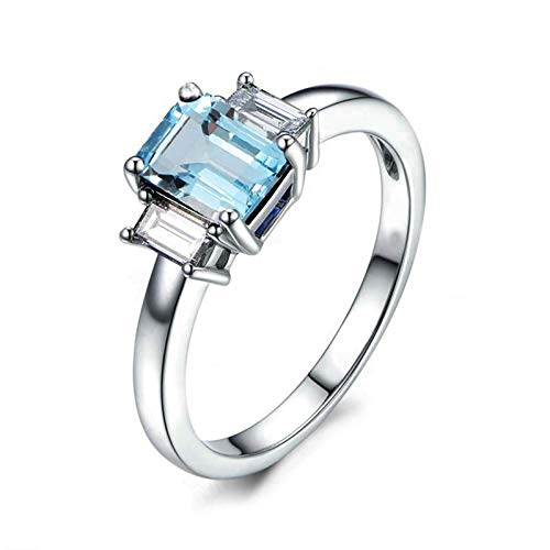 (Adisaer-Ladies Engagement Ring 925 Sterling Silver Plated Solitaire WH 6X8Mm Square Blue Topaz Ring Size 10)