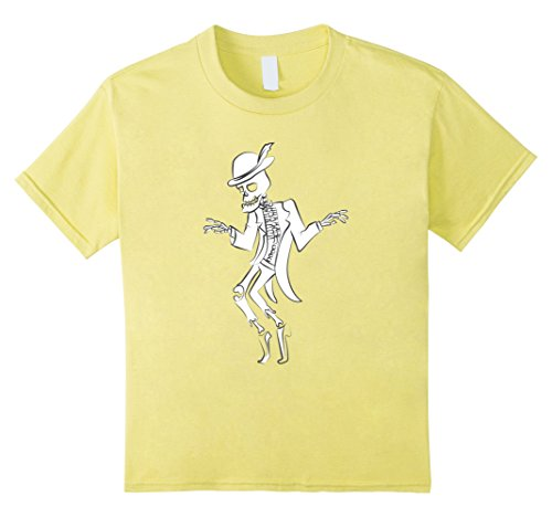 Kids Dabbing Skeleton Dancing Halloween Novelty White T Shirt 6 Lemon