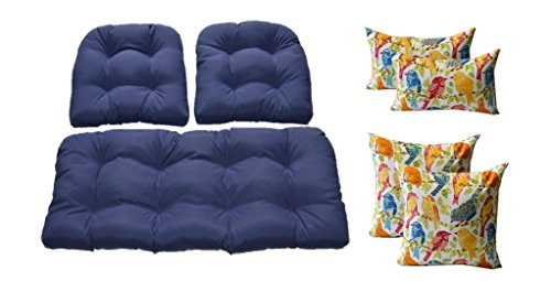 Wicker Cushions and Pillows 7 Pc Set - Solid Navy Blue Fabric Cushions and White Ash Hill Garden Birds - White, Blue, Orange, Yellow, Red Pillows - Indoor / Outdoor Fabric (Wicker Furniture Seven Hills)