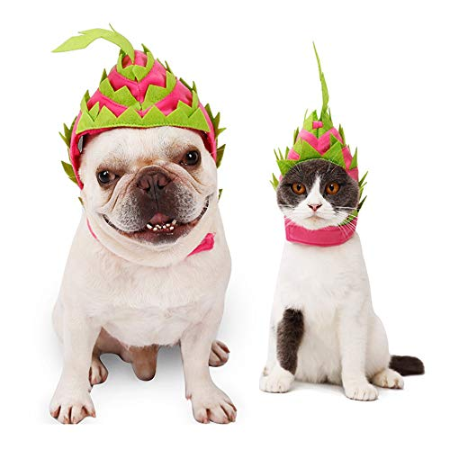 MASCARE Halloween Pet Pitaya Headwear Cat Funny Dragon Fruit Costume Party Dress up Accessories Small