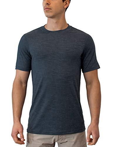 Woolx Men's Endurance Lightweight Extremely Durable Merino Wool Tee Wicks Away Moisture, Denim Heather, X-Large