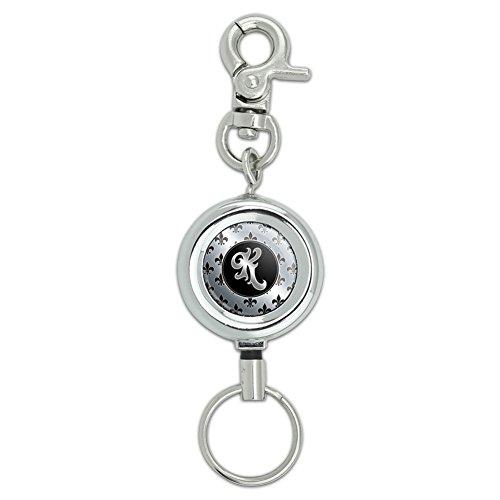 Letter K on Fleur De Lis Pattern Lanyard Belt ID Badge Key Retractable Reel Holder