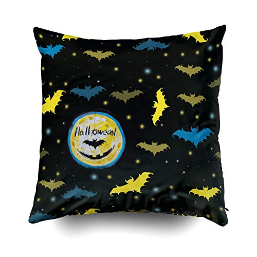 GROOTEY Decorative Cotton Square Pillow Case Covers with Zippered Closing for Home Sofa Decor Size 20X20 Inch Costom Pillowcse Throw Cover Cushion Halloween Halloween Pattern Black -