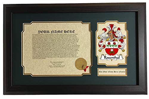 - Rosenthal - Coat of Arms and Last Name History, 14x22 Inches Matted and Framed