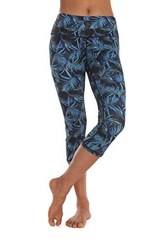 ZEROGSC Women's Yoga Pants - Workout Running Tummy Control Stretch Power Flex Long/Capris Leggings (YPW104-Palms-Medium)