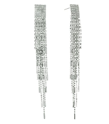 INPINK Fashion Jewelry Crystal Comet Dangle Earrings in Silver-Tone