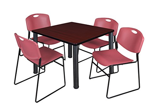 """Kee 42"""" Square Breakroom Table- Mahogany/ Black & 4 Zeng Stack Chairs- Burgundy"""