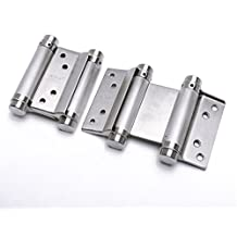 Ranbo commercial grade 304 stainless steel ball bearing heavy duty Double Action spring loaded door swing gate hinge for saloon Western Bar Pub swinging Café Doors 3 x 5 inch( Pack of 2)