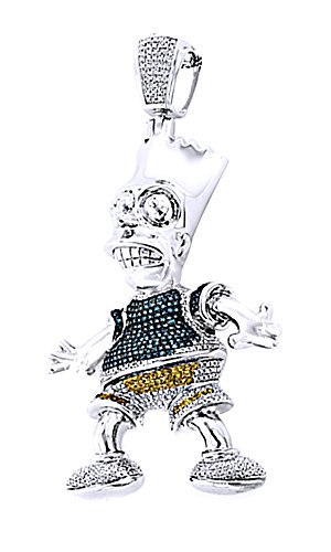 Wishrocks 0.75 Ct CZ Men's Bart Simpson Pendant Hip Hop in 14K Gold Over Sterling Silver by Wishrocks