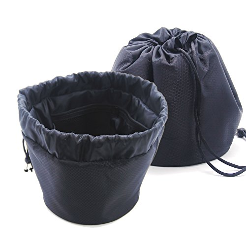 MLMSY Lazy Barrel Shaped Travel Bag Portable Makeup Bag Waterproof Drawstring Makeup Storage Organizer Perfect for Women&Girls (Black)