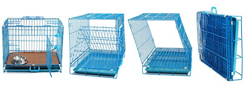 Haige-Pet-Dog-Crate-24-Double-Door-Folding-Metal-Dog-Cage-with-Removable-ABS-Plastic-Floor-Tray