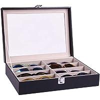 صندوق تخزين النظارات الشمسية مصنوع يدوياً من الجلد ولوحة من الاكريلك ونافذة زجاجية يتسع ل 8 نظارات B085