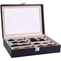 Handmade Acrylic Plate Glass Windows Leather Sunglasses Storage Box For 8 Glasses B085