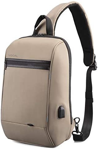 VGOAL Anti-Theft Sling Bag 13.3 inch Messenger Bag with USB Charging Port and RFID Pocket, Cross Body Daypack for Men and Women,Beige