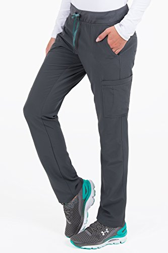 Med Couture Women's 'Air Collection' Oxygen Yoga Cargo Scrub Pant, Pewter/Aruba Blue, X-Large Tall -