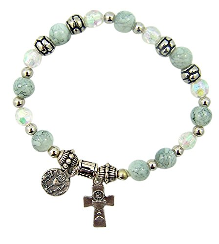 mmunion Chalice Charm Bracelet with Glass Beads, 6 Inch (Communion Chalice Charms)