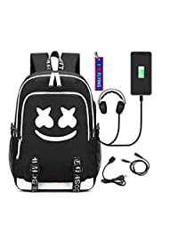 WYCY Luminous Backpack Marshmello School Bag Large Volume 36L with USB Charging Port and Audio Line Unisex School Book Bag Rucksack with Embroidered Keychain Pendant (Marshmello)